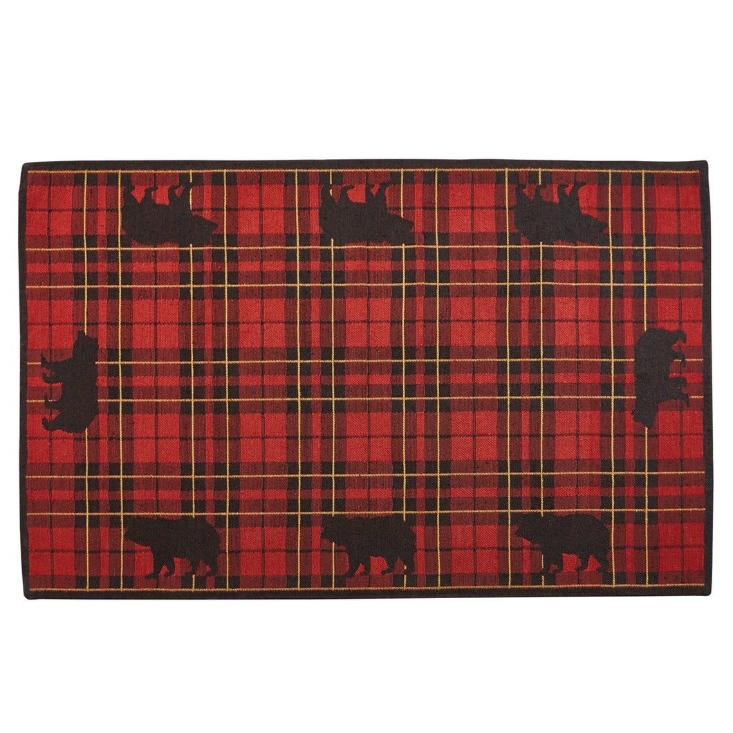 Rug Indoor/Outdoor Sportsman Plaid Bear 3x5