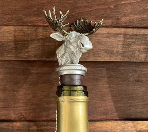 Chest with Wine Bucket and 4 Stemless Wine Glasses and Moose Stopper