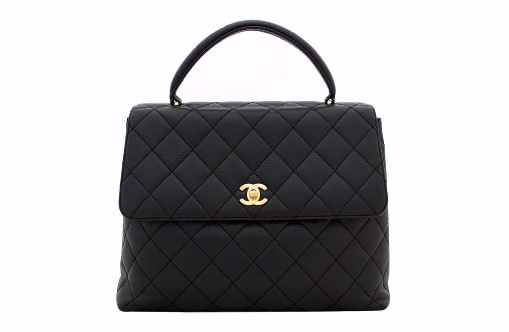 18c12d20 CHANEL VINTAGE KELLY JUMBO BAG - Quilted Caviar Leather in Black ...