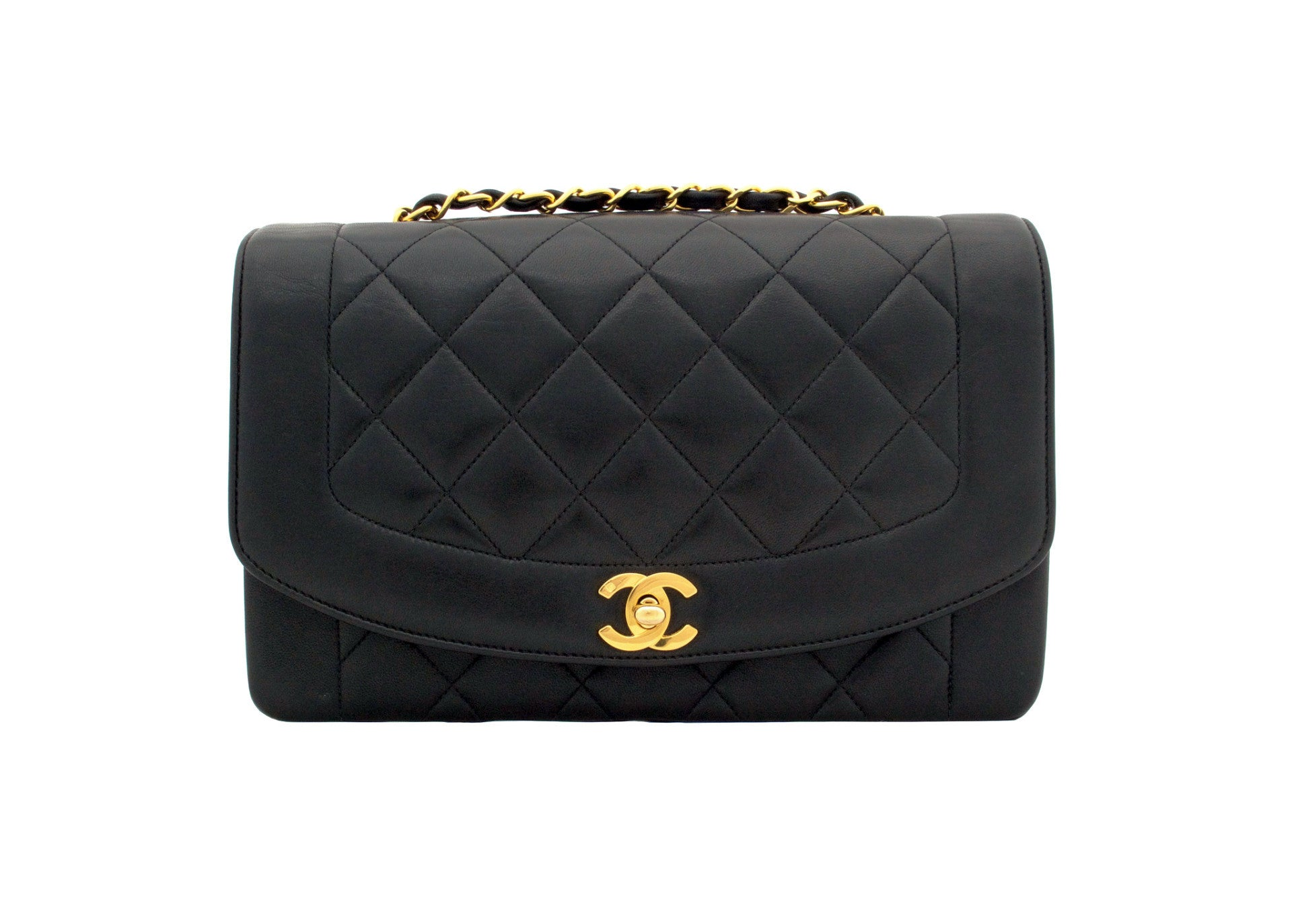 4d23a91fd94b CHANEL VINTAGE BAG - Quilted Classic Flap Bag in Black Diana bag - Vintage  District