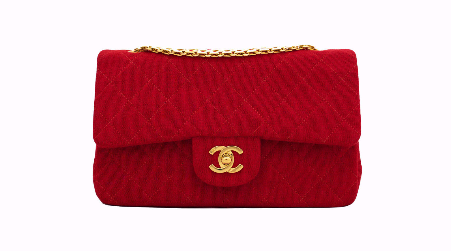 42e88c338713 CHANEL VINTAGE BAG - Classic 2.55 Double Flap in Jersey Red - Vintage  District