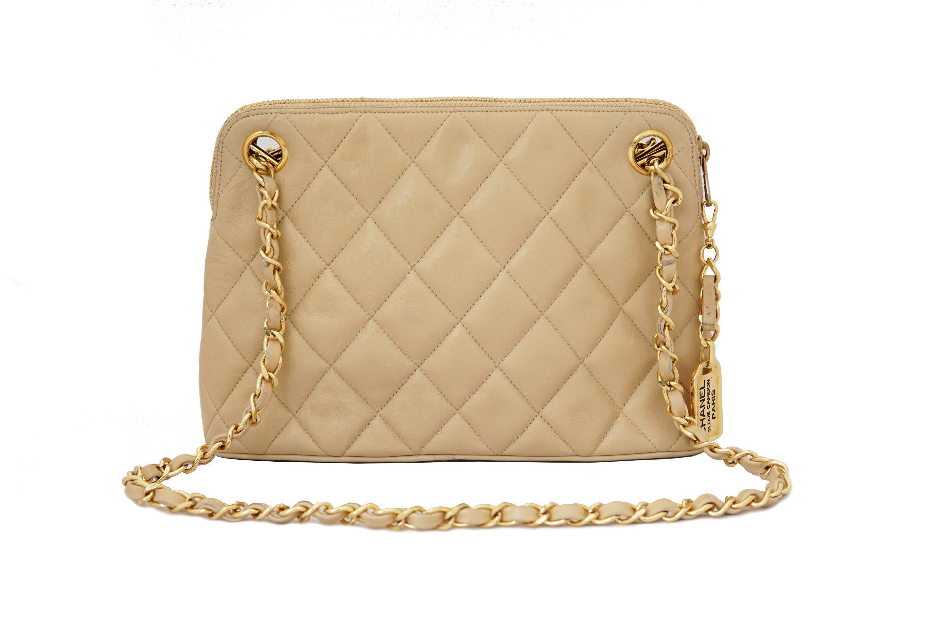 ced068b15e5a52 CHANEL VINTAGE SHOULDER BAG - Quilted Lambskin Beige - Vintage District