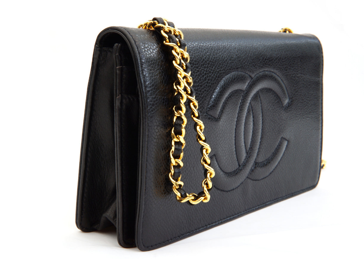 10209be6 CHANEL VINTAGE WALLET ON CHAIN - Caviar Black