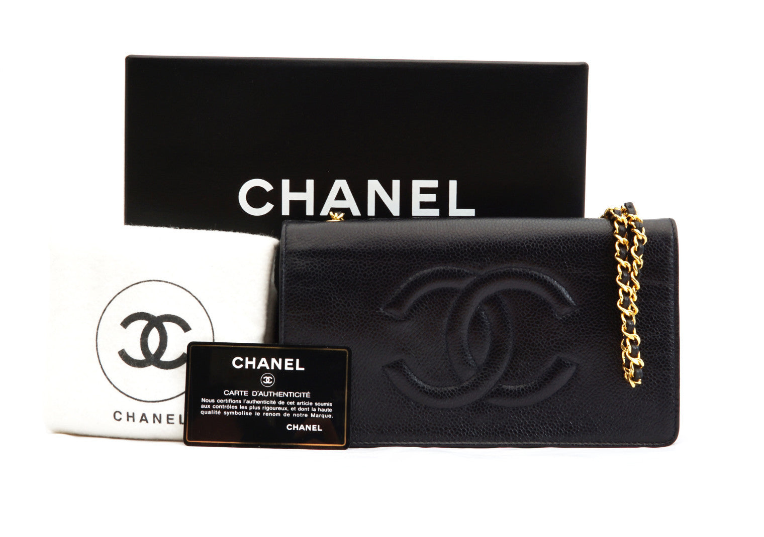ccb28e1f8c69 CHANEL VINTAGE WALLET ON CHAIN - Caviar Black - Vintage District