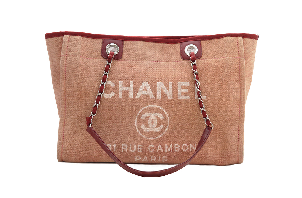 56b64cda8235 CHANEL DEAUVILLE CANVAS TOTE BAG - Red - Vintage District