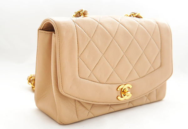 c24a06a8b2156b CHANEL VINTAGE DIANA FLAP BAG - Quilted Lambskin in Beige - Vintage District