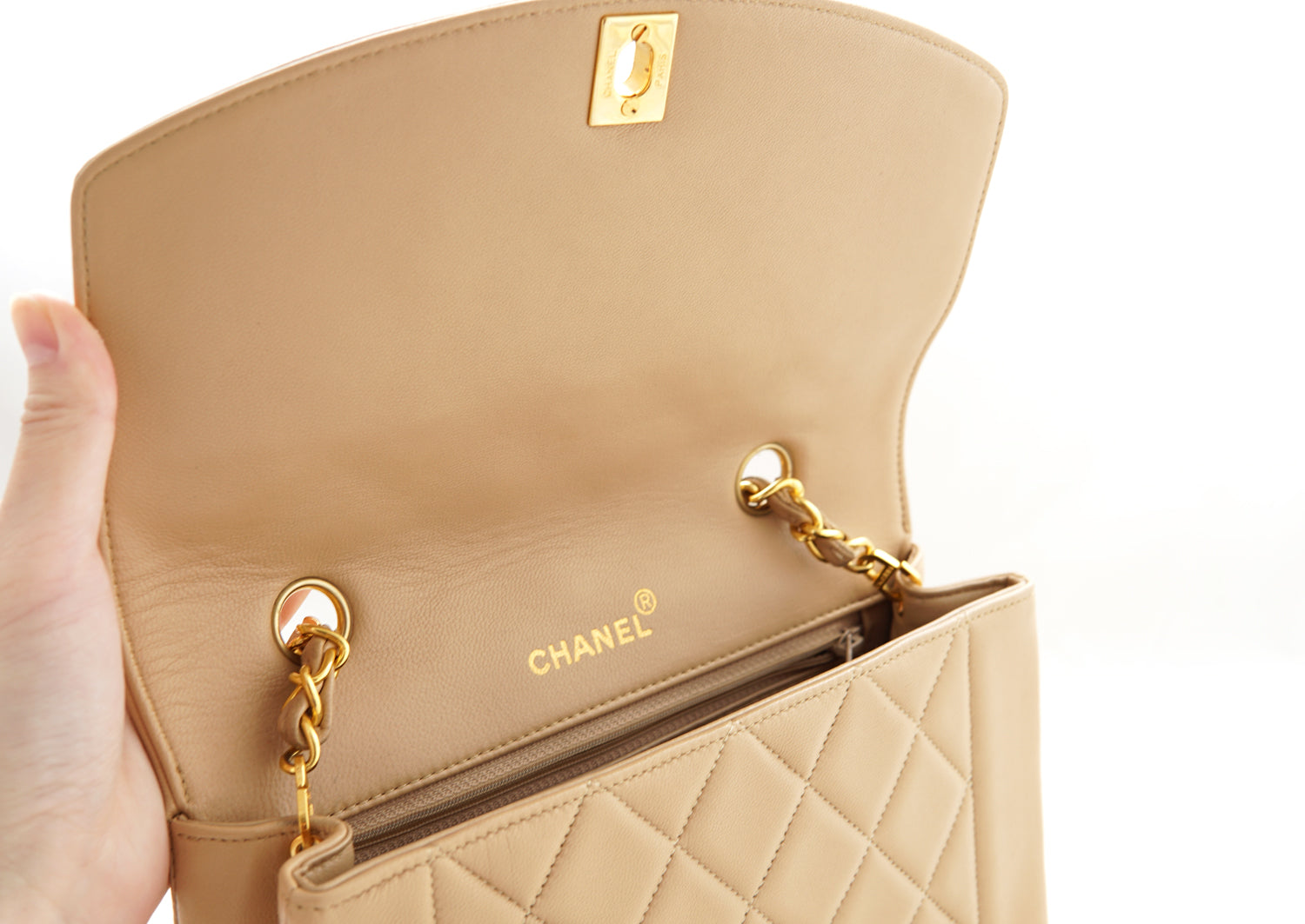 2b9e801efea6 CHANEL VINTAGE DIANA FLAP BAG - Quilted Lambskin in Beige