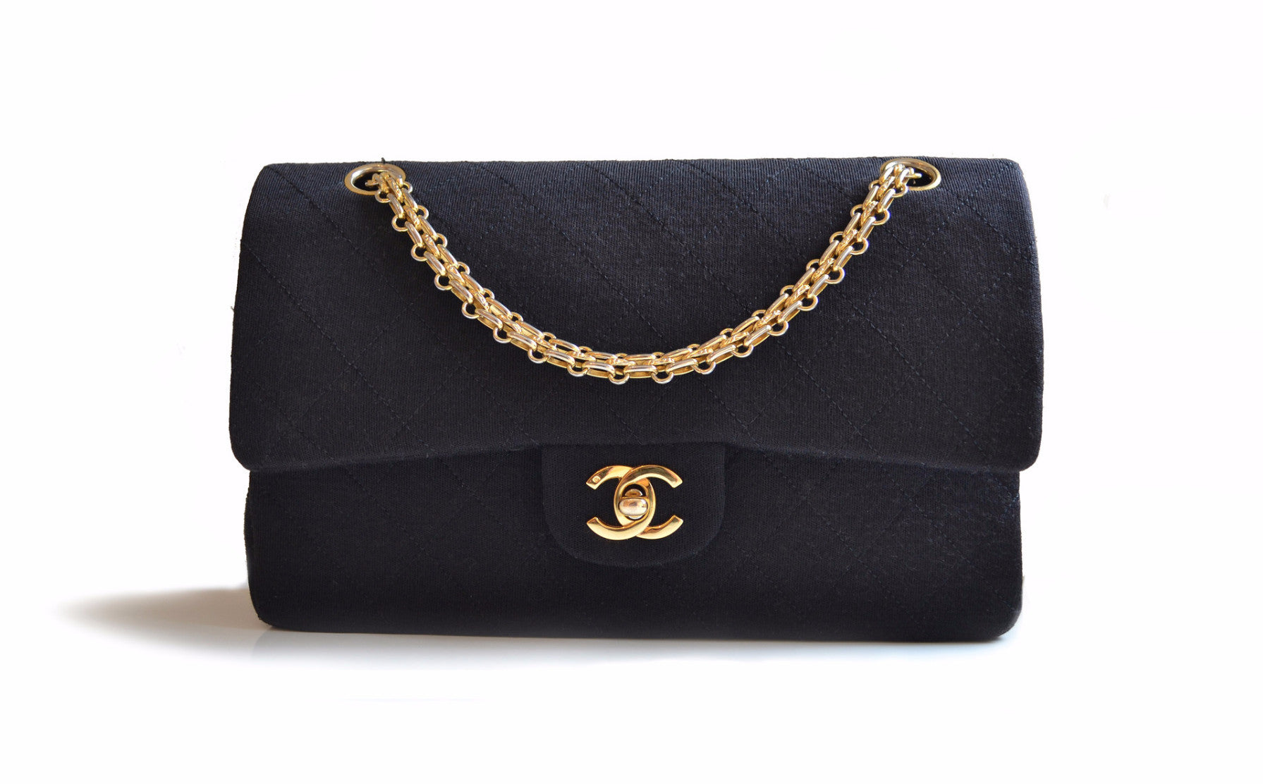 800befe586cd VINTAGE CHANEL 2.55 BAG - Classic Quilted Jersey in Black - Vintage District
