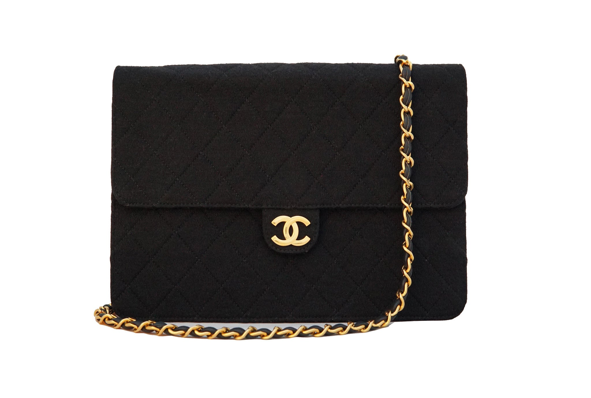 b82adf421daa43 CHANEL VINTAGE BAG - Quilted Jersey Single Flap Shoulder Bag - Vintage  District