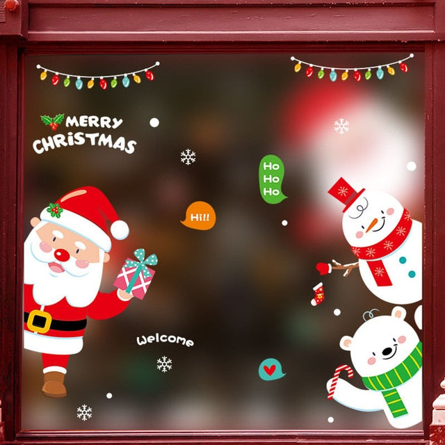 Merry Christmas Wall Stickers Fashion Santa Claus Window Room Decoration