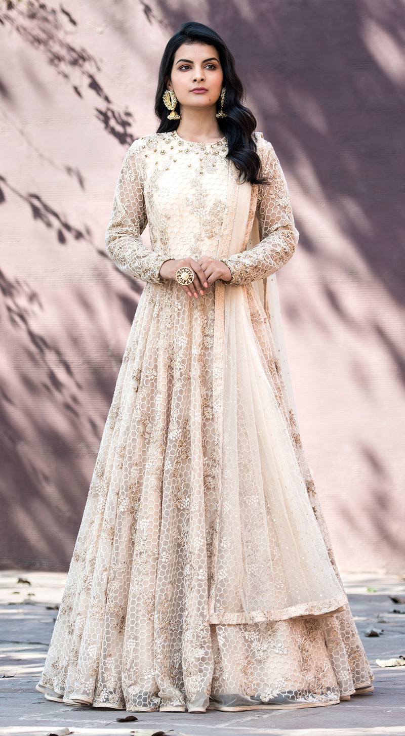 Pastel pink threadwork anarkali with dupatta