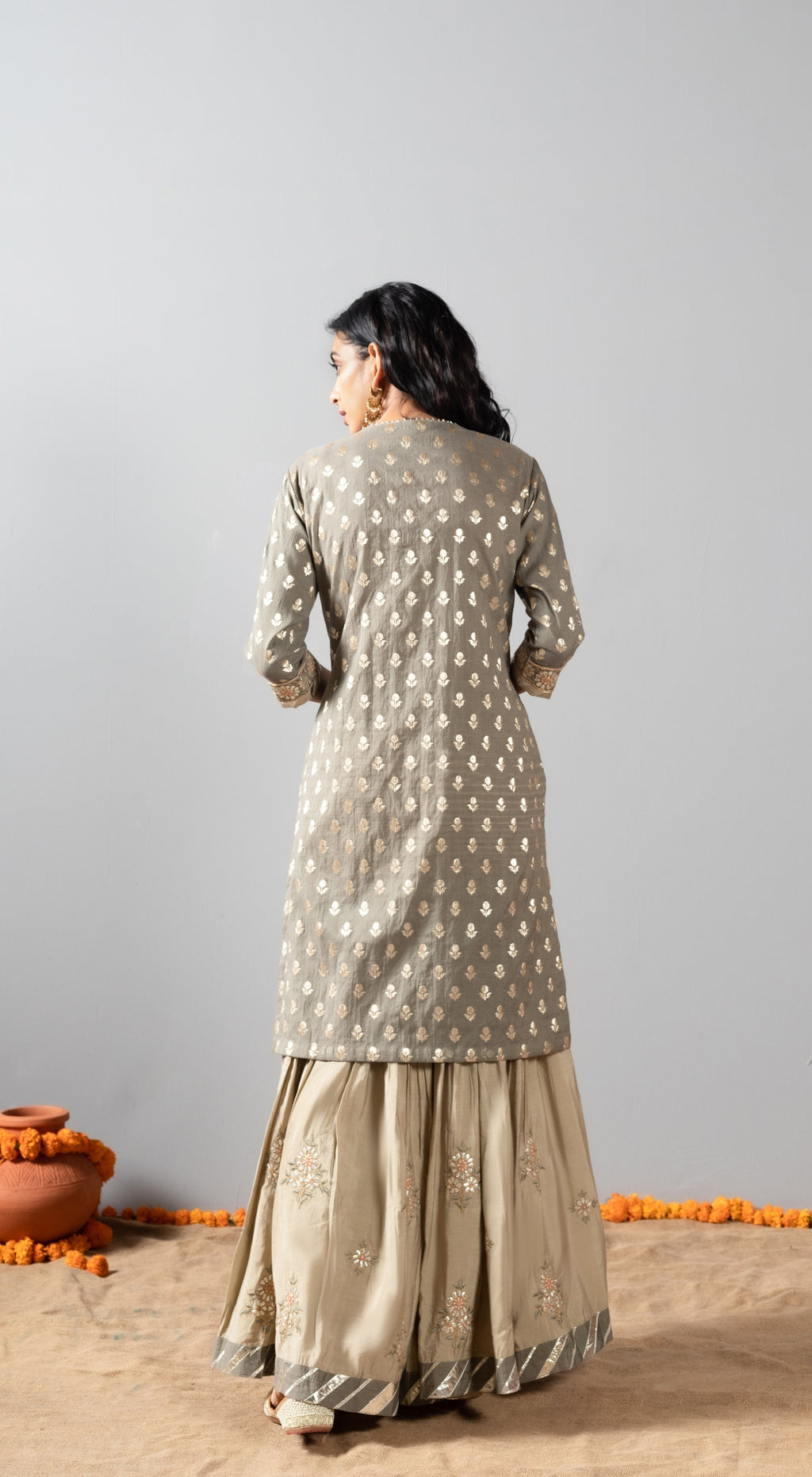 Embroidered kurta set with mukeish chetha dupatta