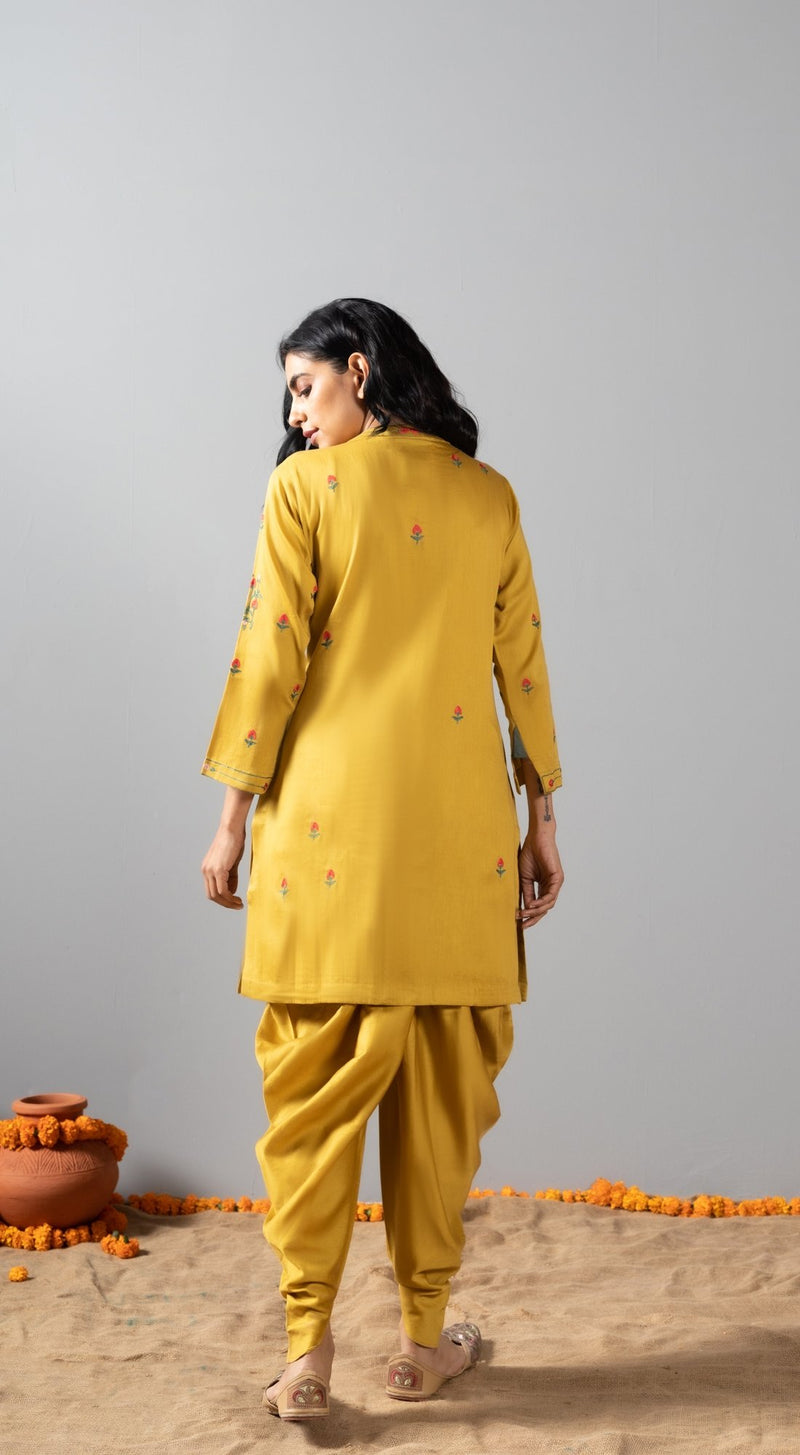 Multi-coloured aari embroidered dhoti set