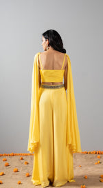 Embroidered sharara set with attached dupatta - Yellow
