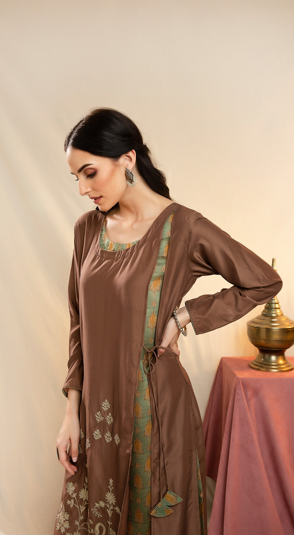 Layered Kurta with zari work