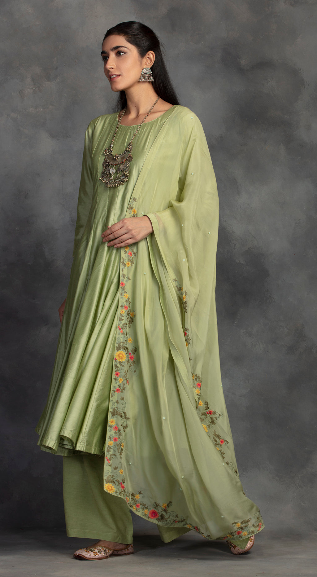 Pista Green Anarkali Set In Chanderi  - Pista