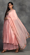 Peachy Pink Anarkali Set In Chanderi  - Pink