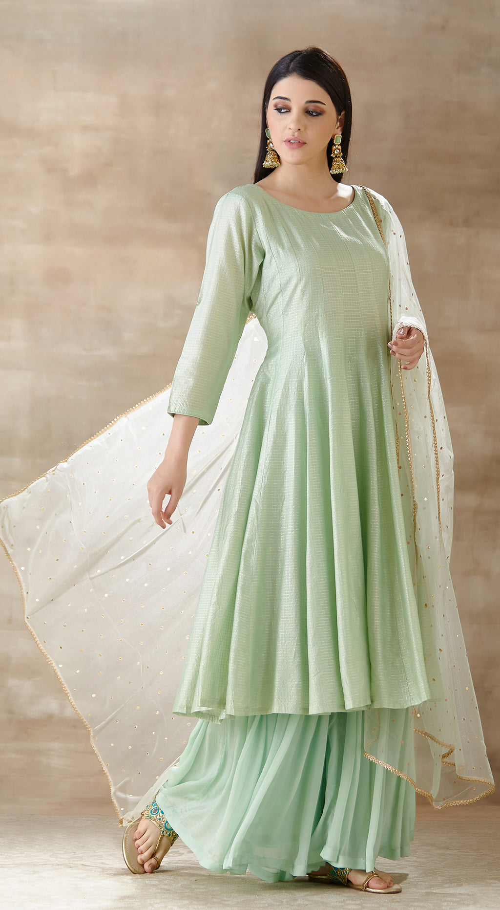 Pista Green tissue anarkali set