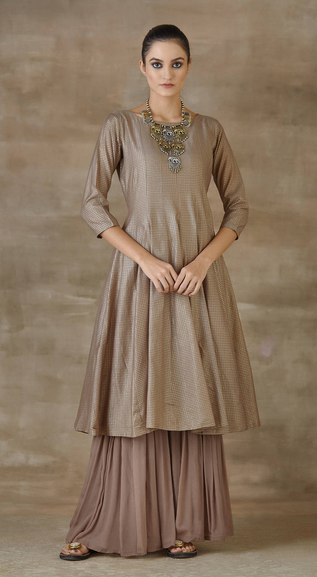 Brown tissue anarkali set