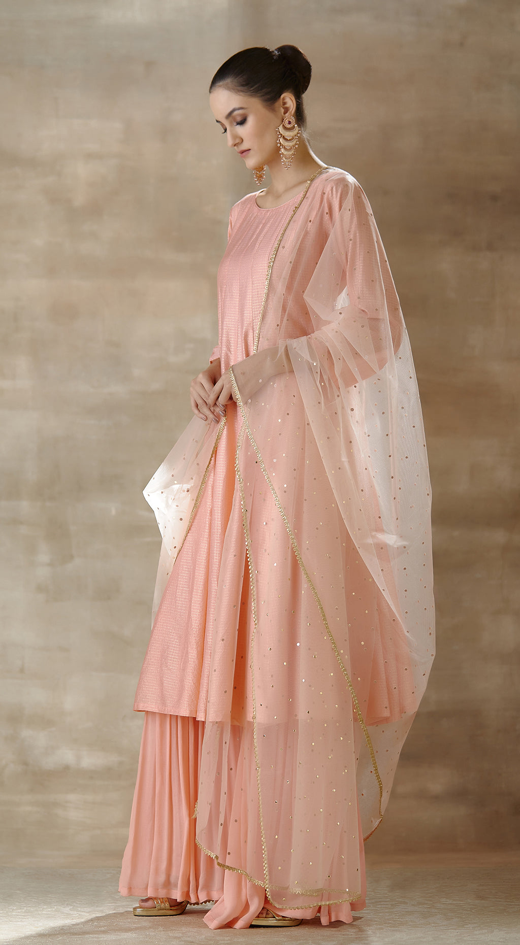 Peach tissue anarkali set