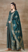 Bottle Green Banarsi anarkali set