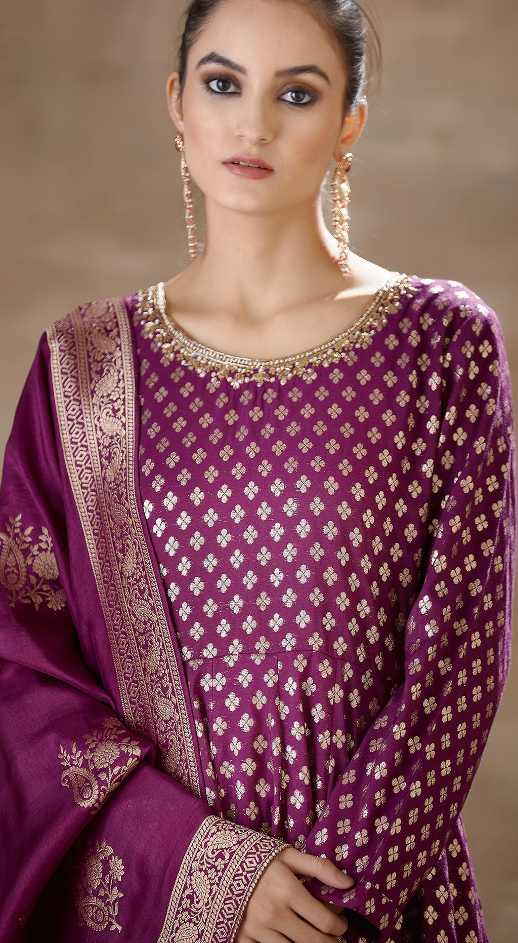 Purple Banarsi anarkali set