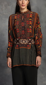 Printed Tunic With Comfy Palazoos - Grey
