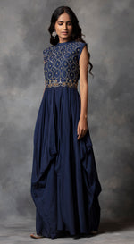 High Neck Drape Gown - Blue