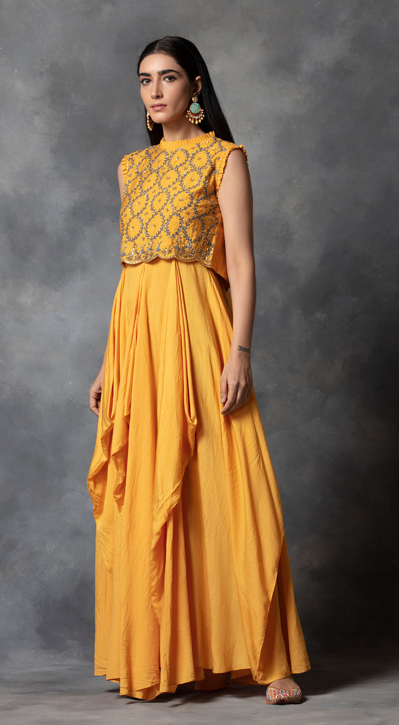 High Neck Drape Gown - Yellow