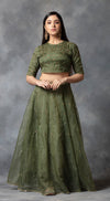 Tonal Embroidered Lehenga Set - Green