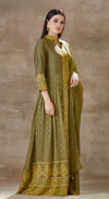 Green anarkali set