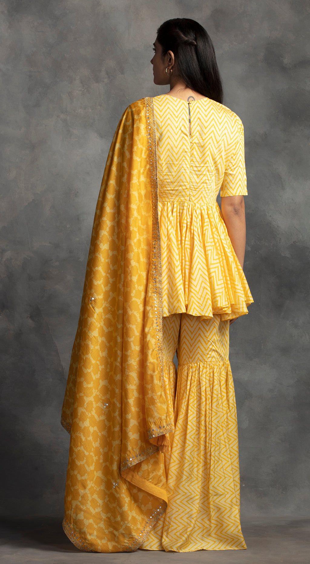 Printed Sharara Set - Yellow