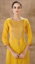 Printed embellished bandhni Tunic set - Yellow