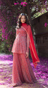 Drop Printed Full Sleeves Sharara Suit Set with Front Embellishment - RED