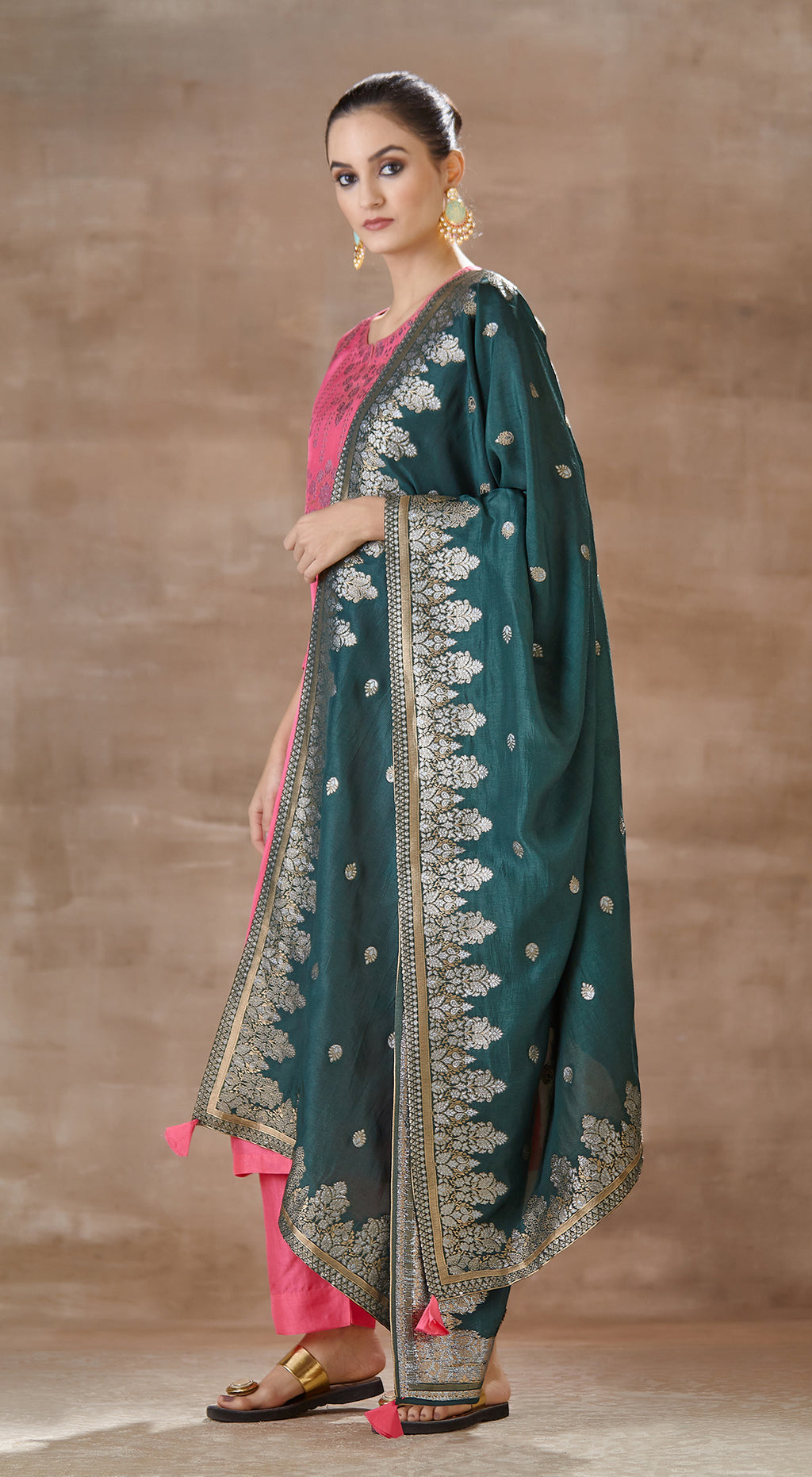 Rani pink with bottle green contrast banarsi dupatta sharara set