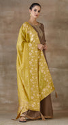 Brown brocade suit set with mustard contrast dupatta