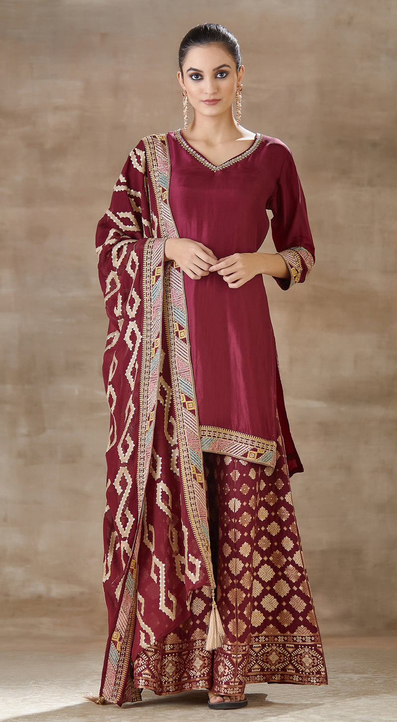 Wine banarsi sharara set