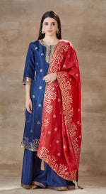 Blue brocade suit set with red contrast dupatta