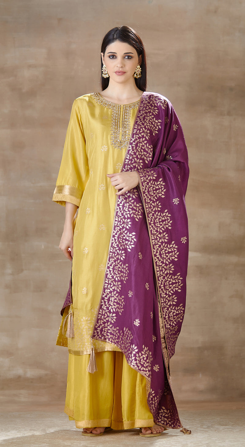 Yellow brocade suit set with purple contrast dupatta