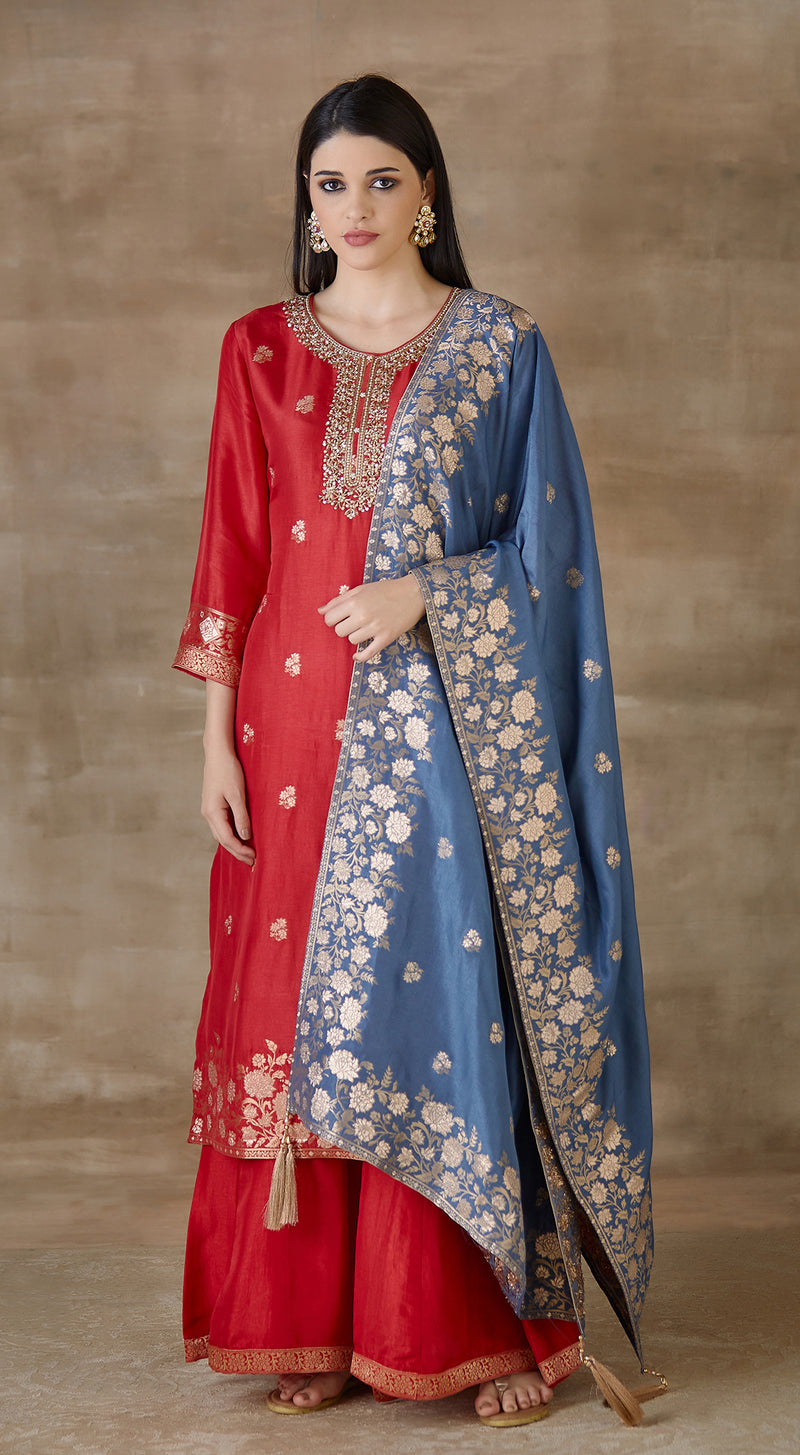 Red brocade suit set with blue contrast dupatta