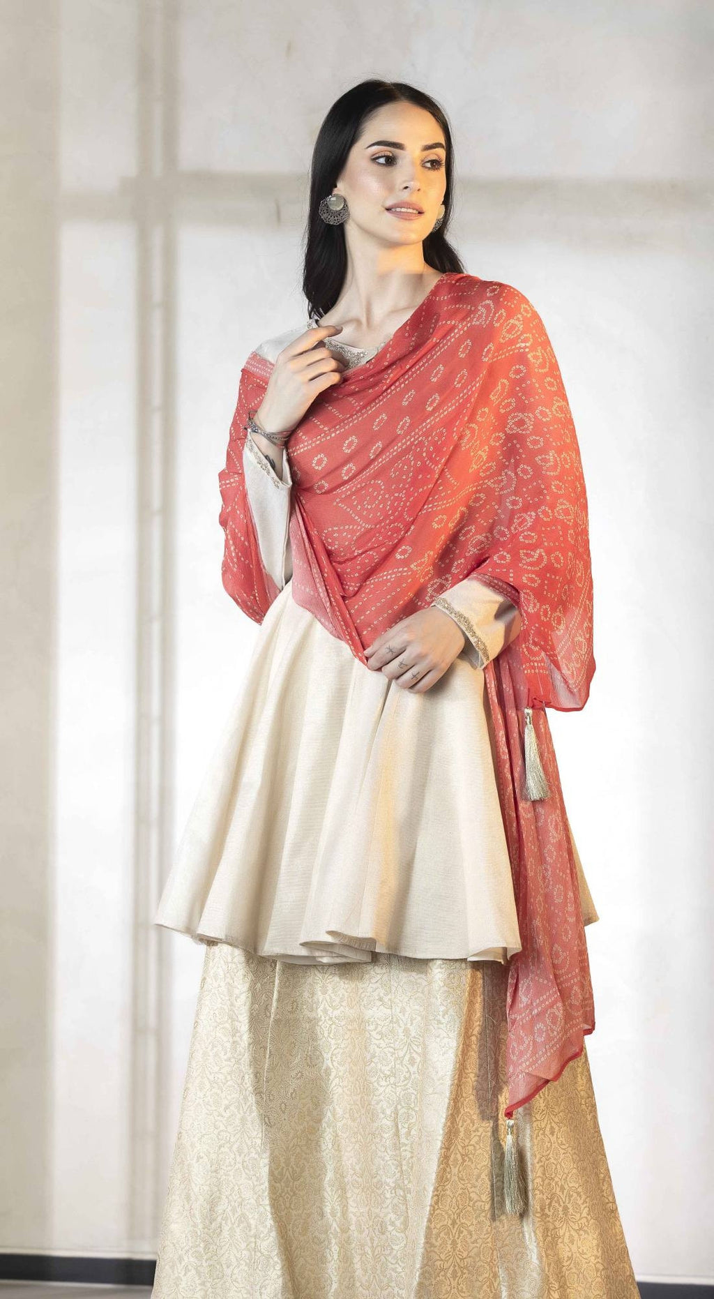 Banarasi kurta & sharara set paired with bandhani dupatta