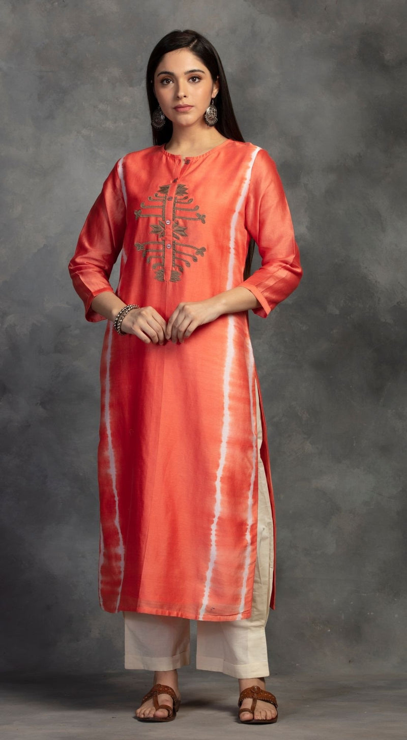 Tie Die Applique Kurta Set
