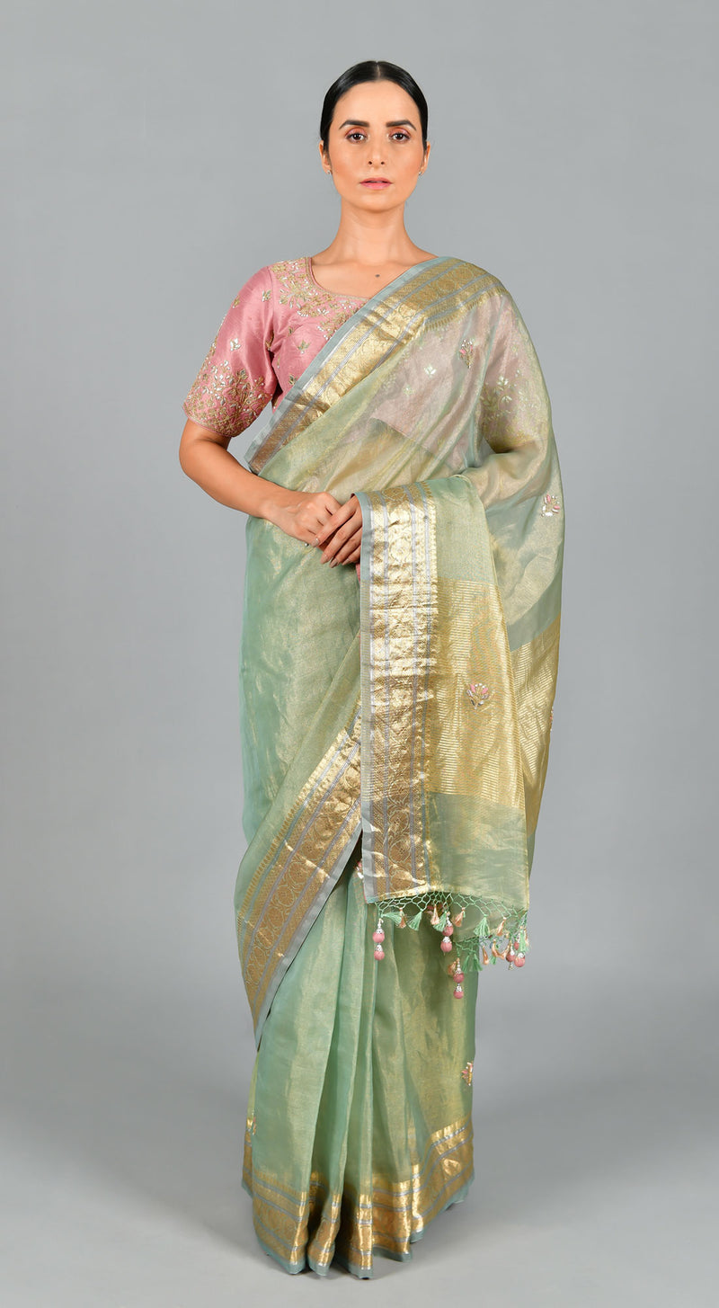Pista Green Organza Tissue Saree with Lilac Blouse