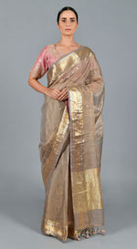 Tortilla Brown Organza Tissue Saree with Lilac Blouse