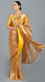 Brown Organza Tissue Saree with Yellow Blouse