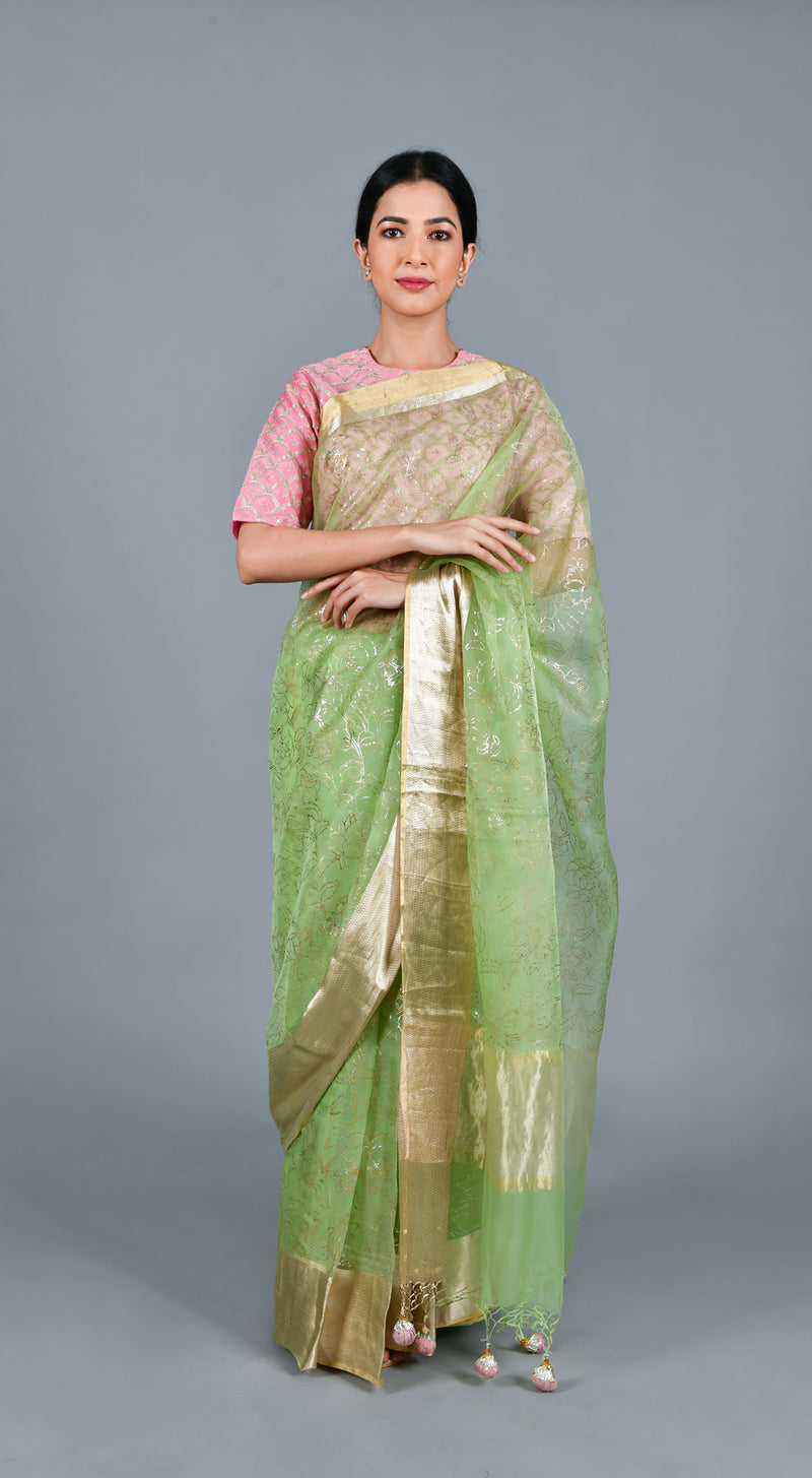 Lime Green Organza Saree with Stitched Blouse