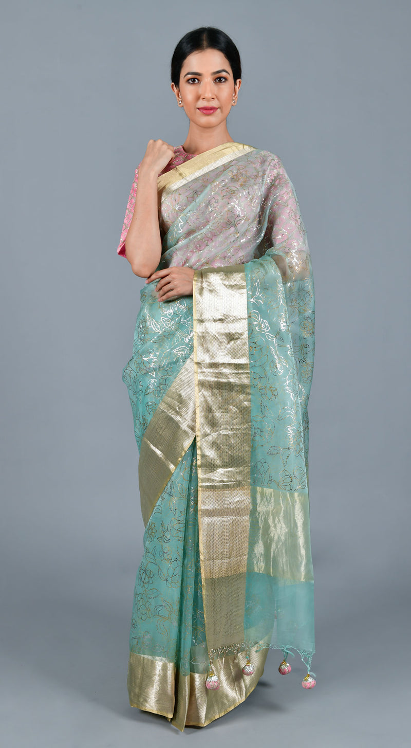 Sky Blue Organza Saree with Stitched Blouse