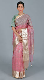 Pink Organza Saree with Stitched Blouse