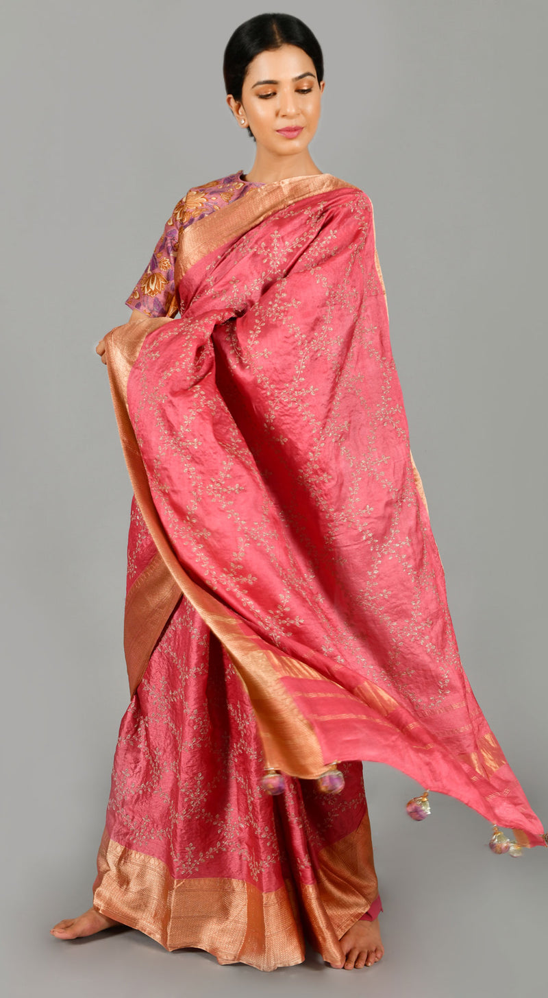 Pink Tussar Silk Saree with Floral Blouse