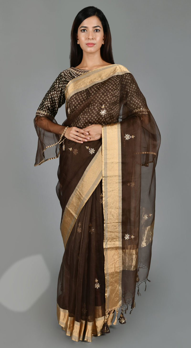 Brown Organza  Saree with Bandhej Blouse